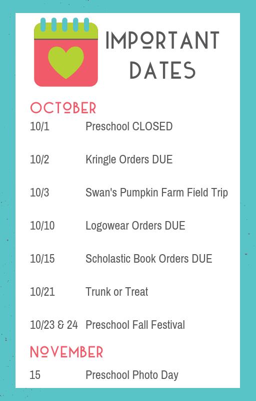 fine arts preschool newsletter october 2018